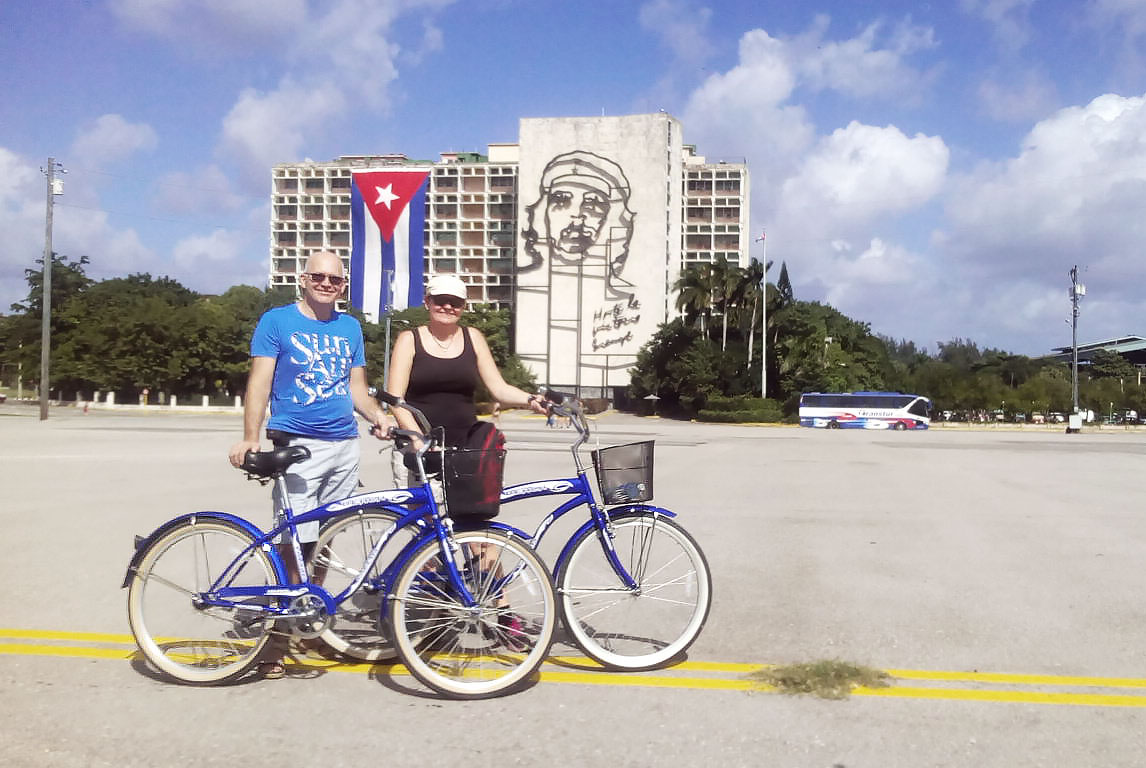 Bicycles at the Revolution Square in Havana on a biking tour