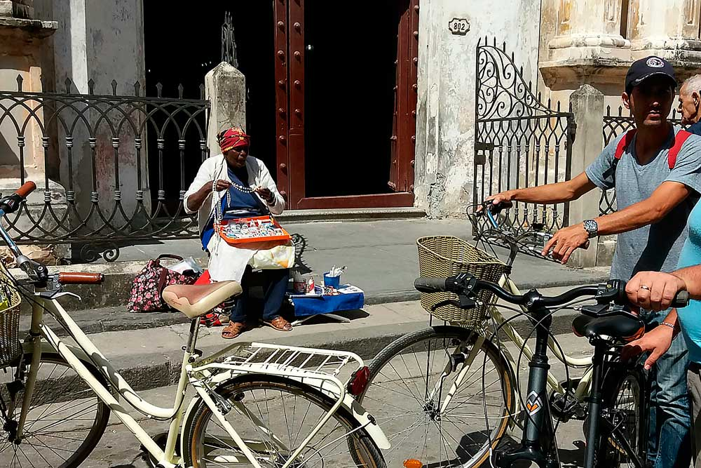 Bicycles at the Church of La Merced at the Old Havana, Cuba during a biking tour