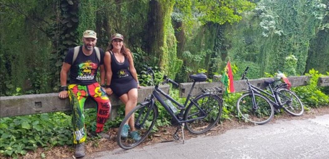 paseo en bici por el bosque